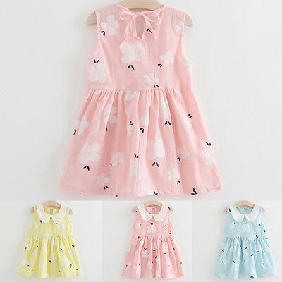 Kids Toddler Girl Summer Party Princess Dresses Sleeveless Casual Sundress 2018 (Casual Girl Dresses)