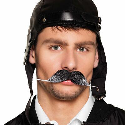 NEU Bart Pilot, dunkelgrau, Kunsthaar Fakebart Kostümbart Karneval - Grauen Bart Kostüm