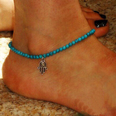 Women's Blue Fashion Stretch Beach Anklet Hamsa Turquoise Bead Ankle Bracelet