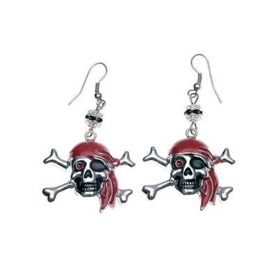 Totenkopf Ohrringe silber/rot, 2 Stück Piratenkostüm Zubehör Piratenschmuck (Rote Kostüm Schmuck)