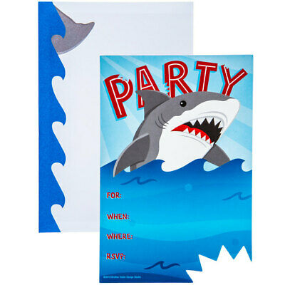 Shark Party Invitations Birthday Party Supplies Kids Party 10 Count