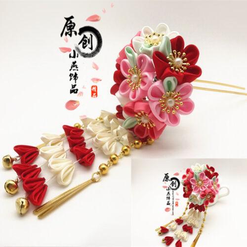 cherry blossom flower with beads utopia Japanese kawaii hair stick  hairstick  ornament  kanzashi
