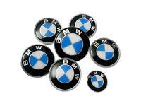 7pc BMW Blue & White Bonnet Boot Steering 82mm 74mm 45mm 68mm Alloy Wheel Centre Caps Badges Set