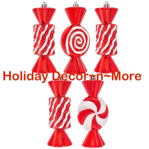 LARGE S/5 ORNAMENTS CANDY PEPPERMINT TREE XMAS DECOR WREATH SWAG ARRANGEMENT RED