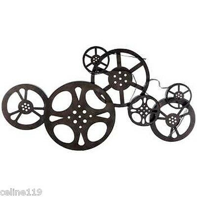 Antique Bronze Metal Movie Reel Wall Art Theater Home Decor. On Sale XXL