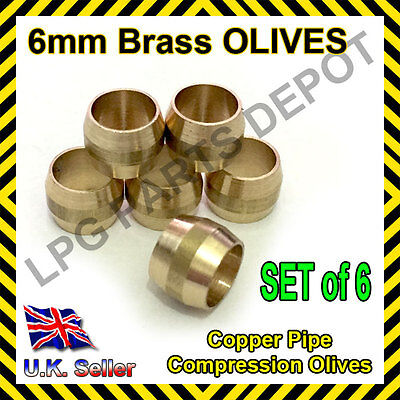 6mm Brass Olives SET of 6 Quality gas compression fittings copper pipe lpg auto