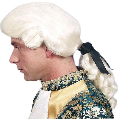 Renaissance Perücke (Perücke Rokoko-Herr Don Juan mit Zopf, weiß Renaissance Barock)