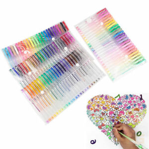 100 Colors Gel Art Pens Art Glitter Neon Metallic Ballpoint Craft Drawing Marker