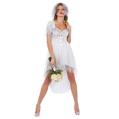 NEU Damen-Kostüm Bloody Bride Blutige Braut Halloween Brautkleid