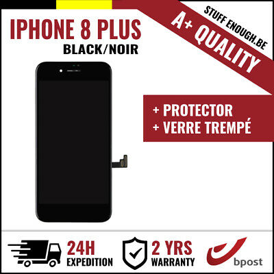A+ LCD TACTILE DISPLAY/SCHERM/ÉCRAN BLACK NOIR &VERRE TREMPÉ FOR IPHONE 8 PLUS