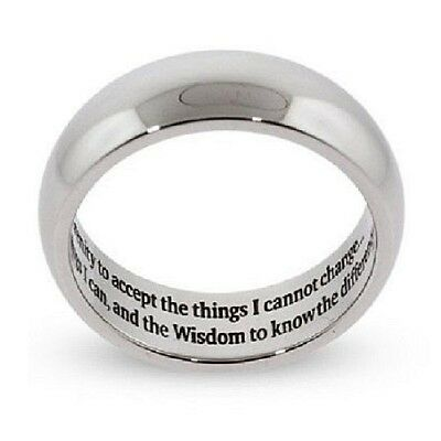 Silver Serenity Prayer Ring Stainless Steel Recovery 12 Step Sobriety AA 5-13  Aa Serenity Prayer