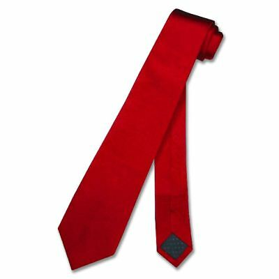 100% SILK Narrow Men's NeckTie Skinny RED Color Men's Thin Neck Tie 2.5