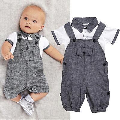 (2PCS Newborn Baby Boy Gentleman Outfit Clothes Shirt Tops+Bib Pants Jumpsuit Set)