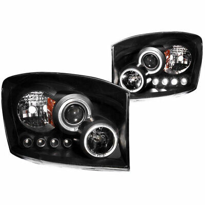 Anzo USA Projector Headlights Black with Halo for Dodge Ram 1500/2500/3500 06-09