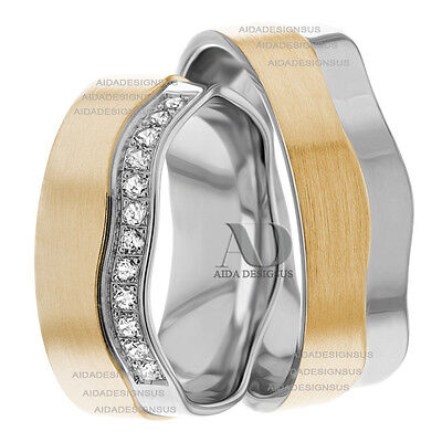 His and Hers Wavy Edge Diamond Wedding Bands 0.24Ctw 10K Gold Two Tone Ring