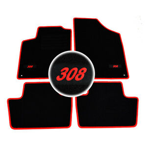 4 tapis sol moquette logo rouge specifique peugeot 308 3 5 sw gti access. Black Bedroom Furniture Sets. Home Design Ideas