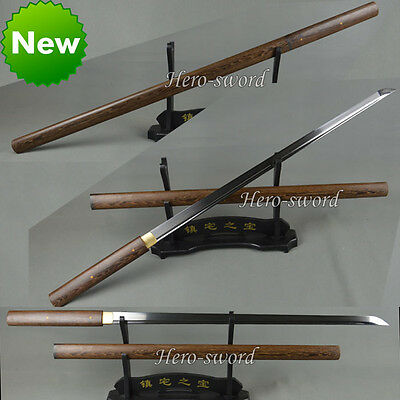Handmade HuaLee-Wood-Japanese-Sword-Shirasaya-Razor-Sharp Katana Full Tang Ninja