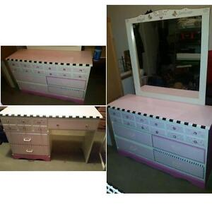 $575 · Pink black and white hand painted Desk & Dresser with Mir