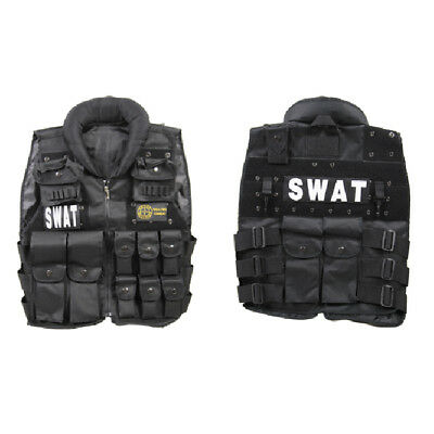 - Black Deluxe Combat Military Airsoft Tactical SWAT Vest Halloween Paintball