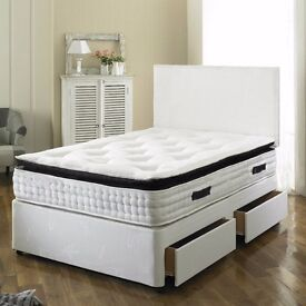 【MADE IN THE UK】 SMALL DOUBLE/DOUBLE DIVAN BED + OPEN SPRUNG MEMORY FOAM MATTRESS