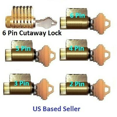 PRACTICE LOCK SET OF 6, LOCKSMITH TRAINING, CUTAWAY, PICK, SCHLAGE FREE SHIPPING
