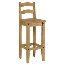 CORONA MEXICAN PINE PAIR OF BAR STOOLS/CHAIRS