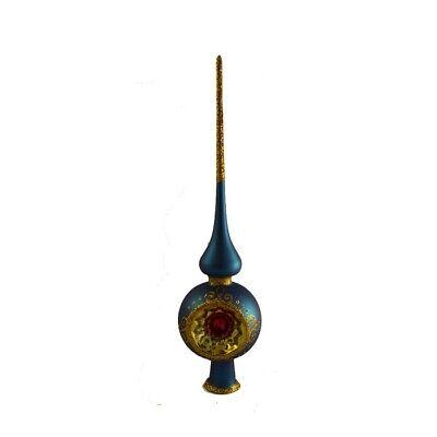 Puntale per Albero di Natale in Vetro Realizzato e Dipinto a Mano 26 cm Blu Oro
