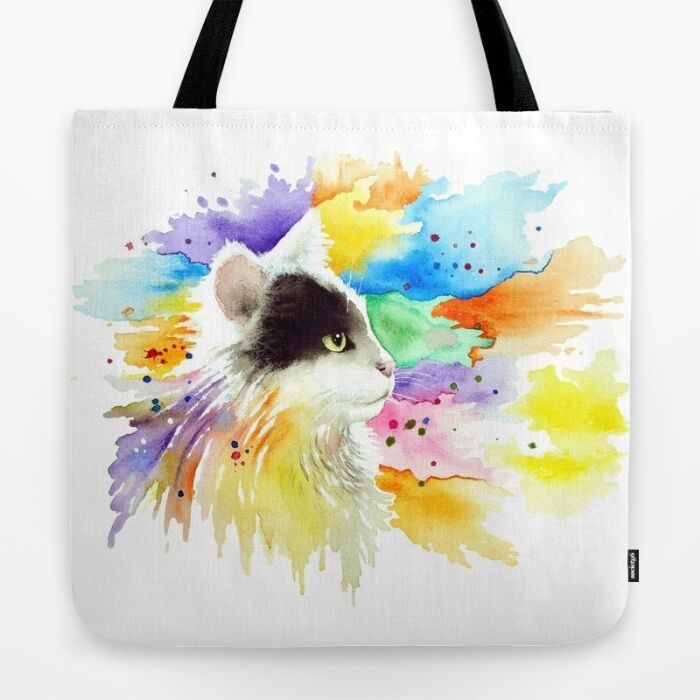 Tote Bag All Over Print Cat 605 Tuxedo Color Splash Art P...