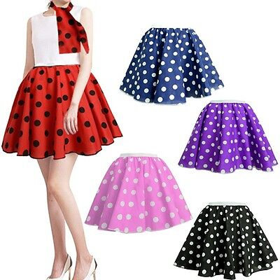 UK Women's Rock And Roll 50s 60s Skirt & Scarf Set Fancy Dress For Party 21