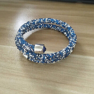 Crystal  Double Wrap Bracelet Made with Swarovski Elements Light Blue](Wristband Light)