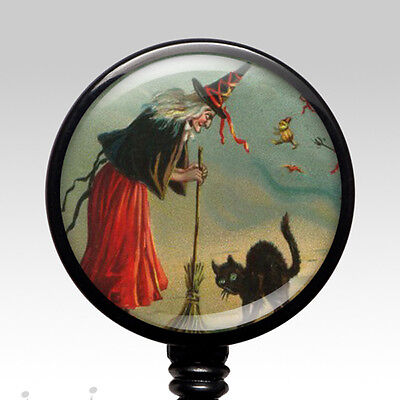 ID Badge Reel - Retractable Name Badge Holder Handmade - Vintage Witch Halloween