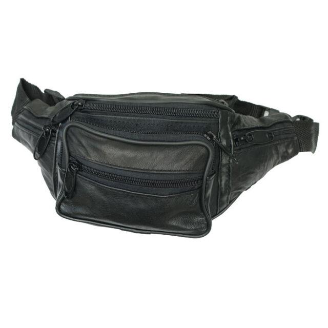 Leder Gürteltasche Bauchtasche Sporttasche Umhängetasche 7 Fächern Schwarz