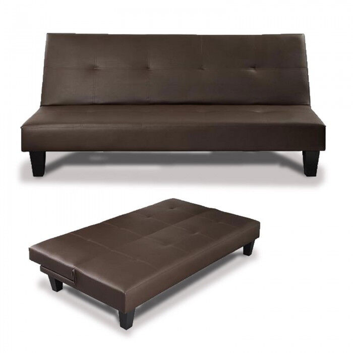 Leather Sofa Sofa Bed 3 Seater Futon Day Bed Leather Black