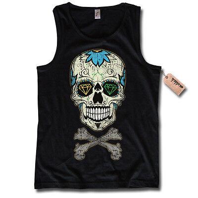 Tank Top - SUGAR SKULL - T-Shirt Mexican Totenkopf tattoo Oldschool S M L XL XXL