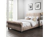 Brand New Safina Roll Top Kingsize Sleigh Bed in Beige Velvet