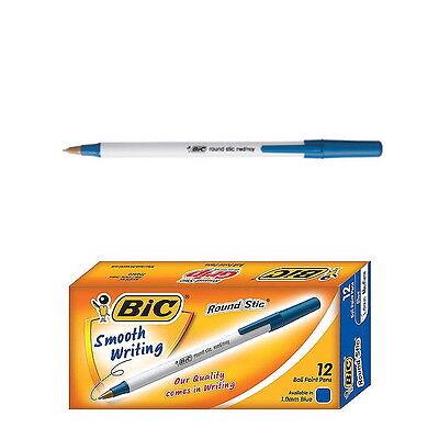 12 Pcs Bic Round Stic 1.0mm Ballpoint Pen Med Moy 1 Box Blue