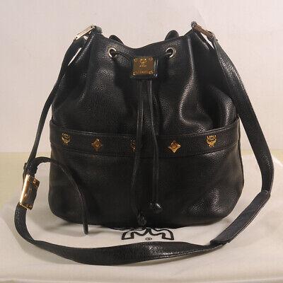 AUTHENTIC MCM Leather  Drawstring   Shoulder Cross body Bag + Dust Bag