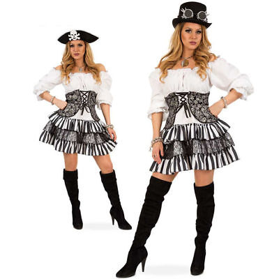 Damen-Kostüm Gwendolyn, schwarz-weiß  Steampunkkostüm Piraten Halloween