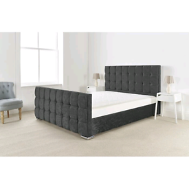 Brand new high quality charcoal chenille cube bedframe on sale
