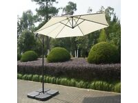 Large Cream Cantilever Outdoor Parasol - Weighted Base Included