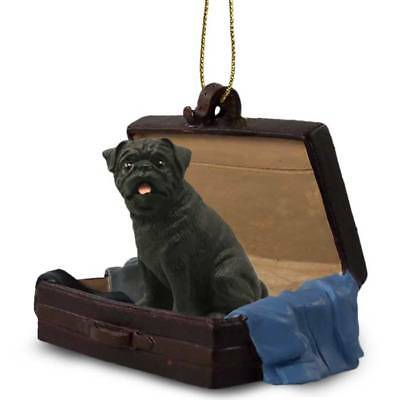 Pug Black Traveling Companion Dog Figurine In Suit Case Ornament
