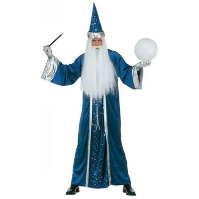BLAUES ZAUBERER SAMT KOSTÜM Karneval Herren Männer Hexer Magier Robe Hut M - Hexe Kostüm Männer