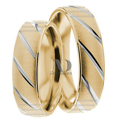 14K Gold Two Tone Side Striped Matching Wedding Band Set 6mm Low Dome Rings