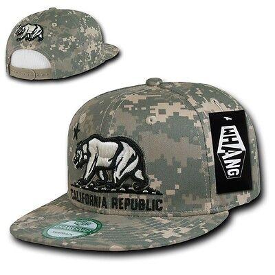 2292eeb93116e Digital Camouflage ACU Camo California Republic Cali Bear Flat Snapback Cap  Hat