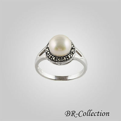 Marcasite White Ring - Sterling Silver Ring with a White Freshwater Pearl and Swiss Marcasite