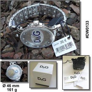 sehr große D&G Dolce & Gabbana Unisex-Uhr DW0133 Stahlband poliert viel Glitzer
