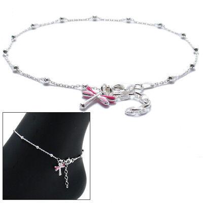 """925 Sterling Silver 9""""-10"""" Adjustable Pink Dragonfly Ankle Bracelet Anklet"""