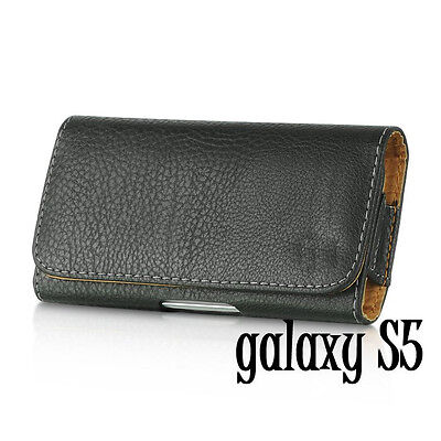 Samsung Galaxy S5 S6 S7 - HORIZONTAL BLACK Leather Pouch Belt Clip Holster Case