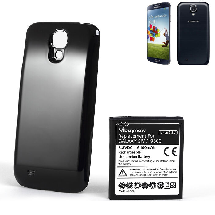 6400mAh New Extended Battery+Black Cover For Samsung Galaxy S4 I9500 I9505 Phone
