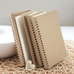 KRAFT-NOTEBOOK-Small-Blank-Spiral-Journal-Diary-Memo-Pocket-Scrap-Book-Gift